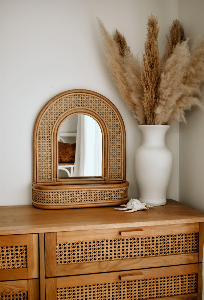 Aurora Mirror Wall Shelf Open Weave Oak studios