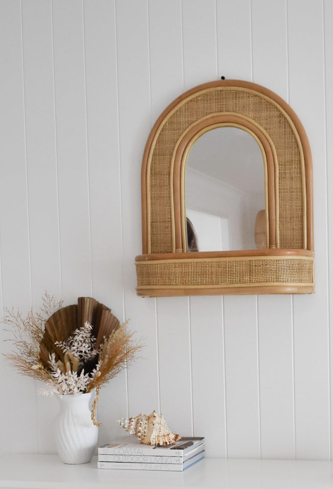 Aurora Mirror Wall Shelf square Weave Oak studios