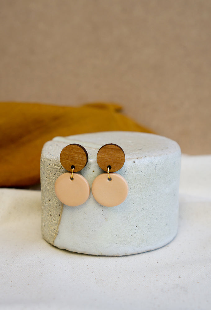 Bamboo + Nude Ceramic Round Earring