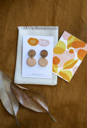 Load image into Gallery viewer, Bamboo + Nude Ceramic Round Earring