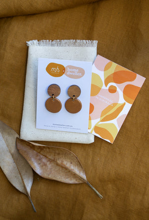 Load image into Gallery viewer, Bamboo + Tan Ceramic Round Earring