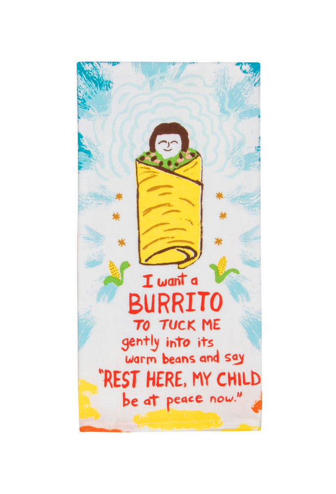 Load image into Gallery viewer, i want a burrito tea towel blue q
