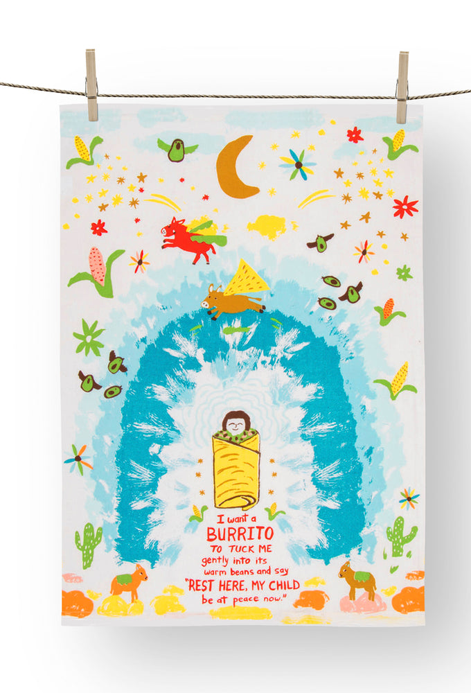 i want a burrito tea towel blue q