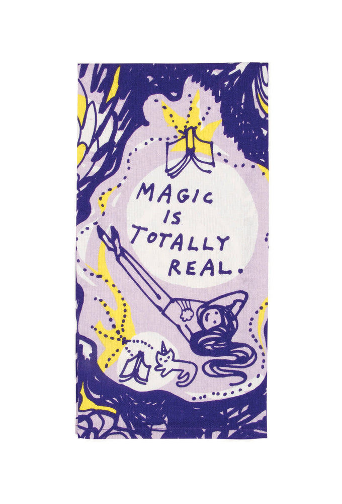 magic tis totally real tea towel blue q