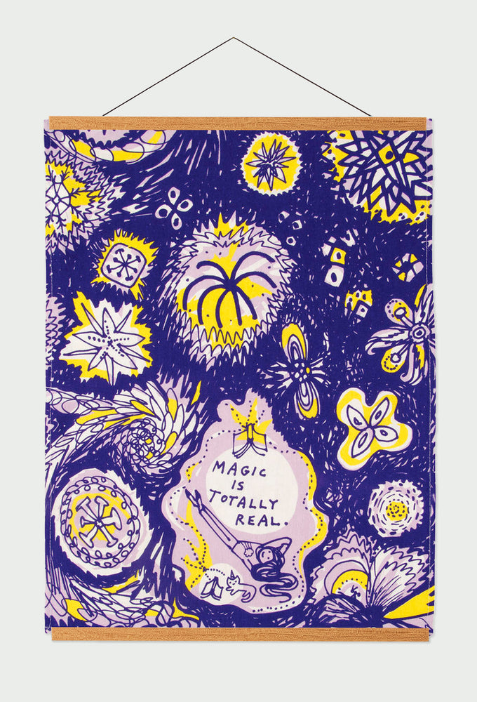 magic is totally real tea towel blue q