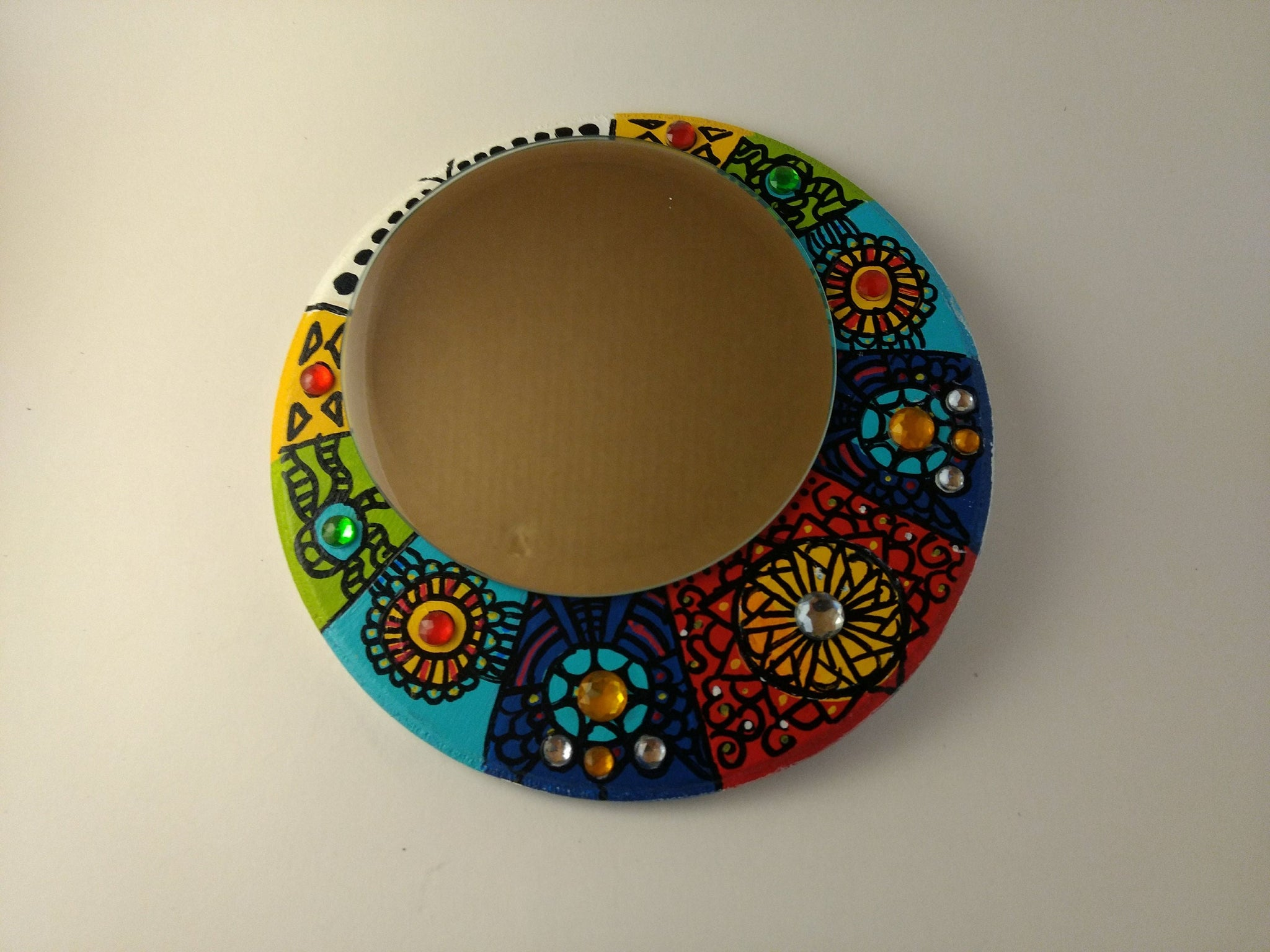 "Hand painted wooden mirror 7""x7"" inches, acrylic painting with circle mirror, handmade, boho mirror wall hanging"