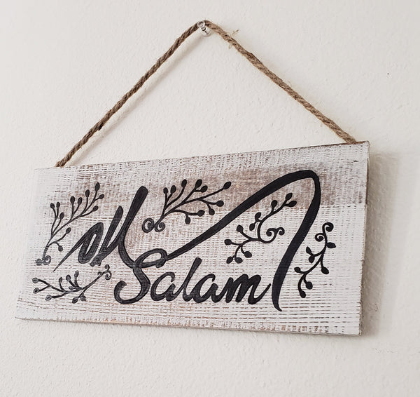 Wooden Salam sign boutique signs Handmade sign Welcome plaques business signs cottage signs welcome eid gift signs welcome washed white sign