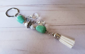green tassel Beaded Keychain,Large Tassel Keychains, Keychain for Women, glass keychain, beads, Purse Charms, Gift Ideas