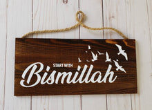 Start with Bismillah Arabic/English sign Handmade sign plaques Bismillah sign cottage signs muslim signs Arabic brown sign