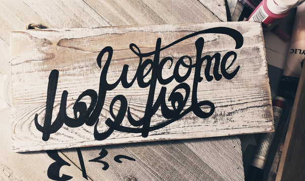 Wooden Welcome Arabic/English sign Handmade sign Welcome plaques business signs cottage signs welcome signs welcome washed white sign