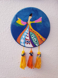 Sufi Islamic wall hanger ,hand painted islamic wall hangings, modern islamic decor, Muslim art, muslim gift, islamic decor with tussles.