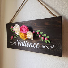 Patience Wood Wall Sign Plaque, Arabic sign Handmade sign with felt flowers islamic sign