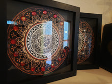 Surah Al Fatiha Islamic Design in a black shadowbox frame, ready to hang Modern Islamic Wall Art with black and red beads and stones