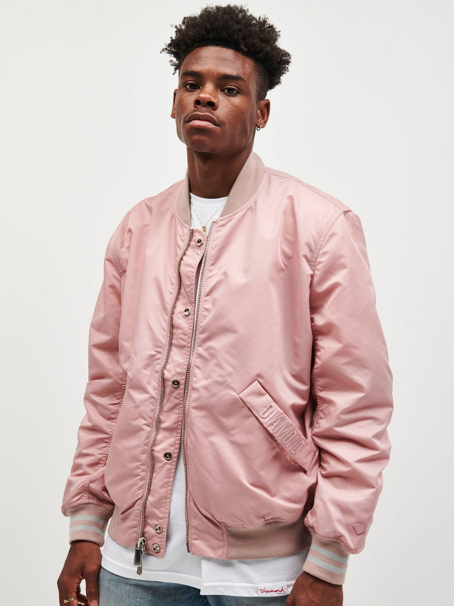 Diamond Panel Bomber Jacket - Pink