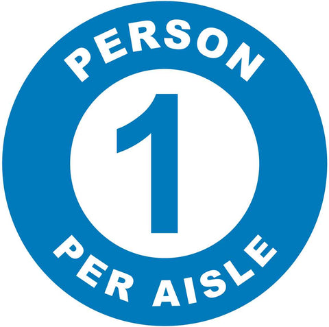1 Person Per Aisle Blue Decal