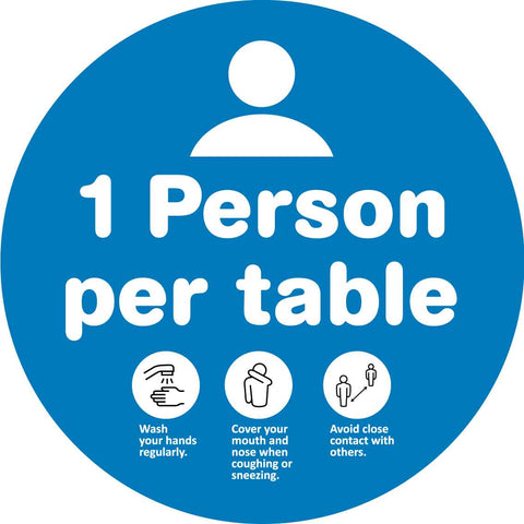 1 Person Per Table Decal