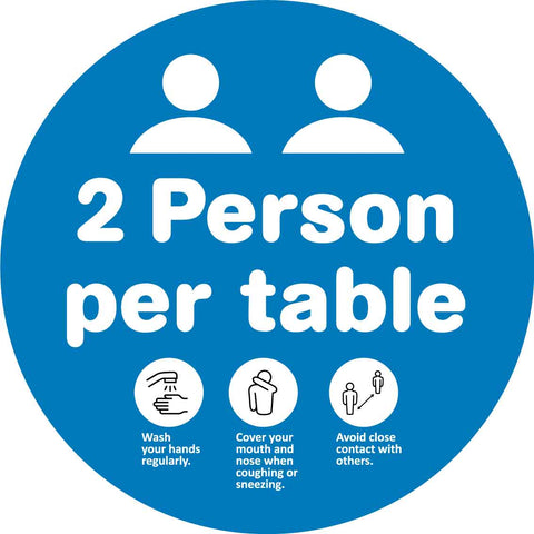 2 People Per Table Decal