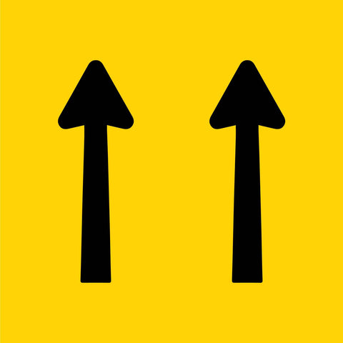 2 Straight Arrows Multi Message Reflective Traffic Sign