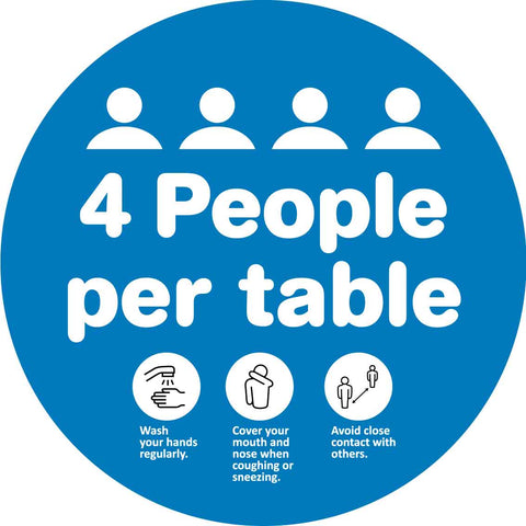 4 People Per Table Decal