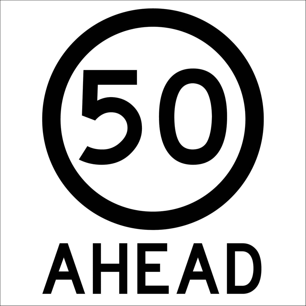 50km Ahead Multi Message Reflective Traffic Sign