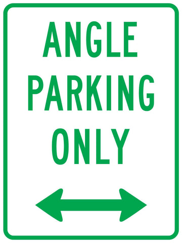 Angle Parking Only Arrow Sign