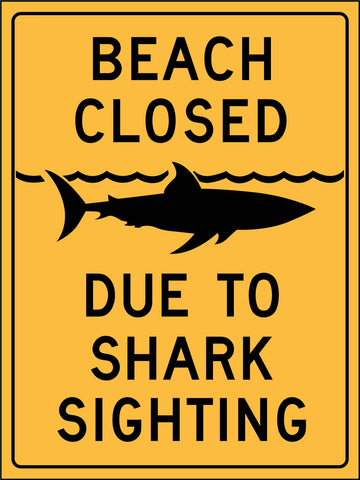 Beach Closed Due to Shark Sighting Sign