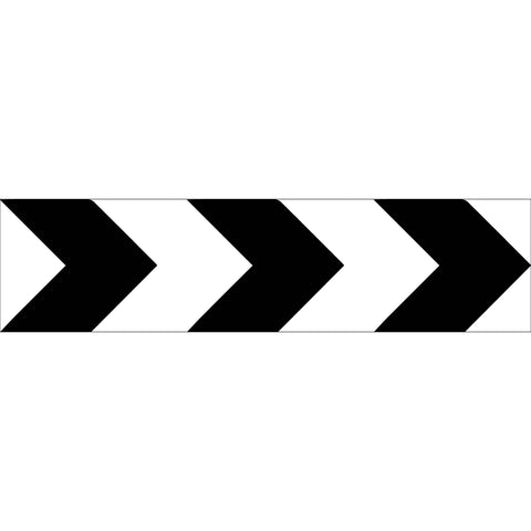 Black White Arrows Long Skinny Multi Message Reflective Traffic Sign
