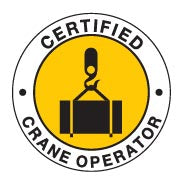 CERTIFIED CRANE OPERATOR Hard Hat Stickers