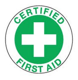CERTIFIED FIRST AID GREEN Hard Hat Stickers