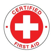 CERTIFIED FIRST AID RED Hard Hat Stickers