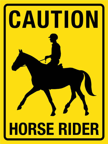 Caution Horse Rider Yellow Sign