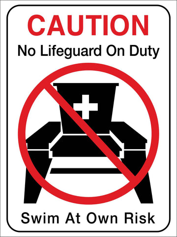 Caution No Life Guard on Duty Swim at Own Risk Sign