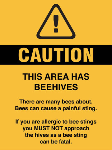 Caution This Area Has Beehives Sign