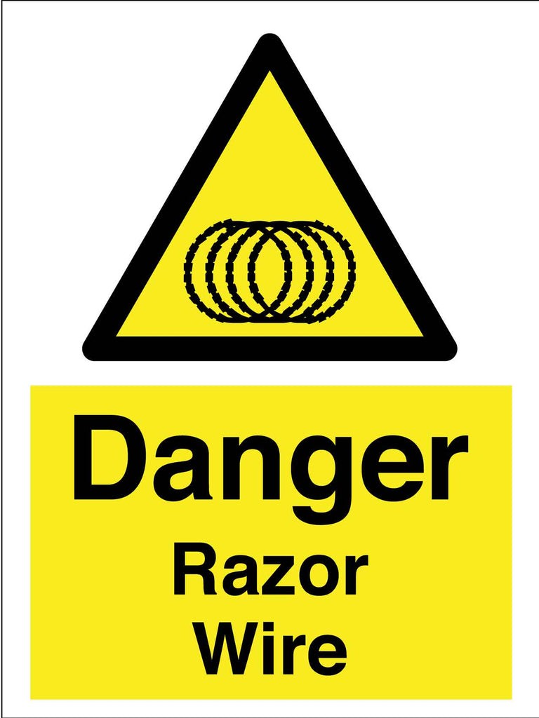 Caution Danger Razor Wire Sign