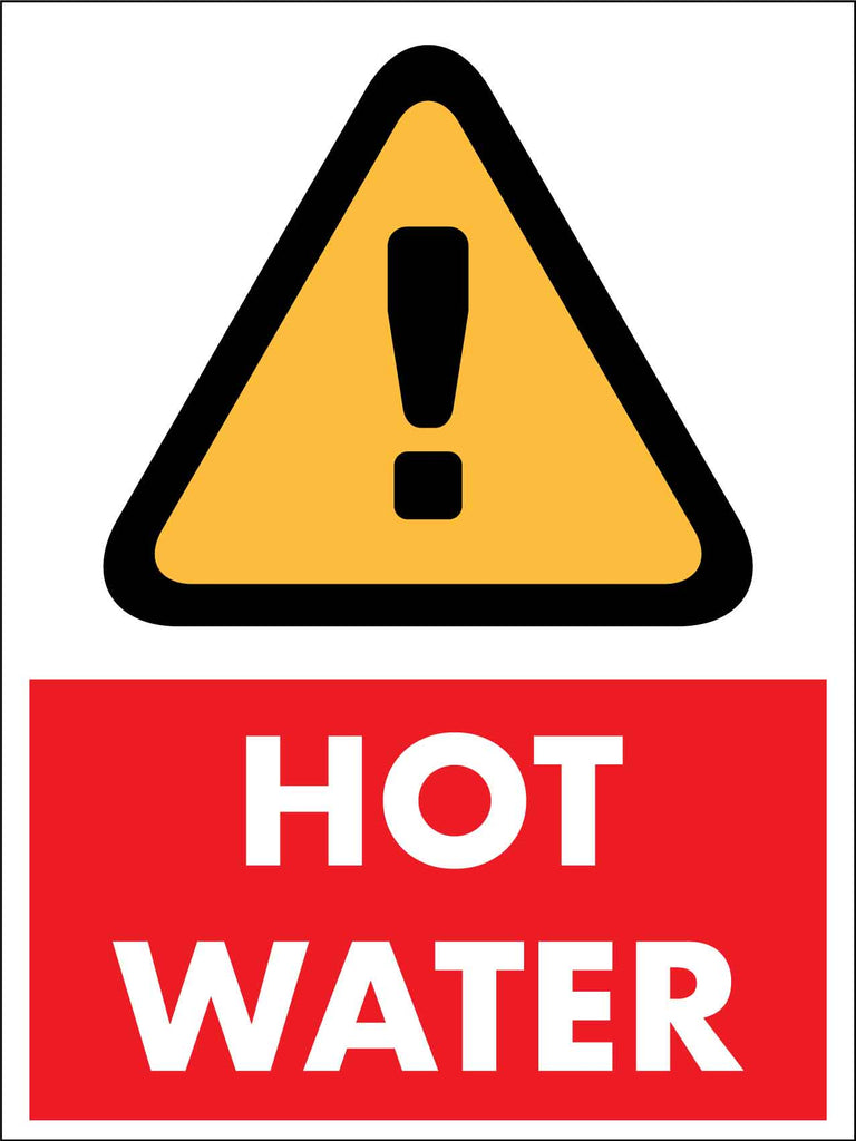 Caution Hot Water Red Sign