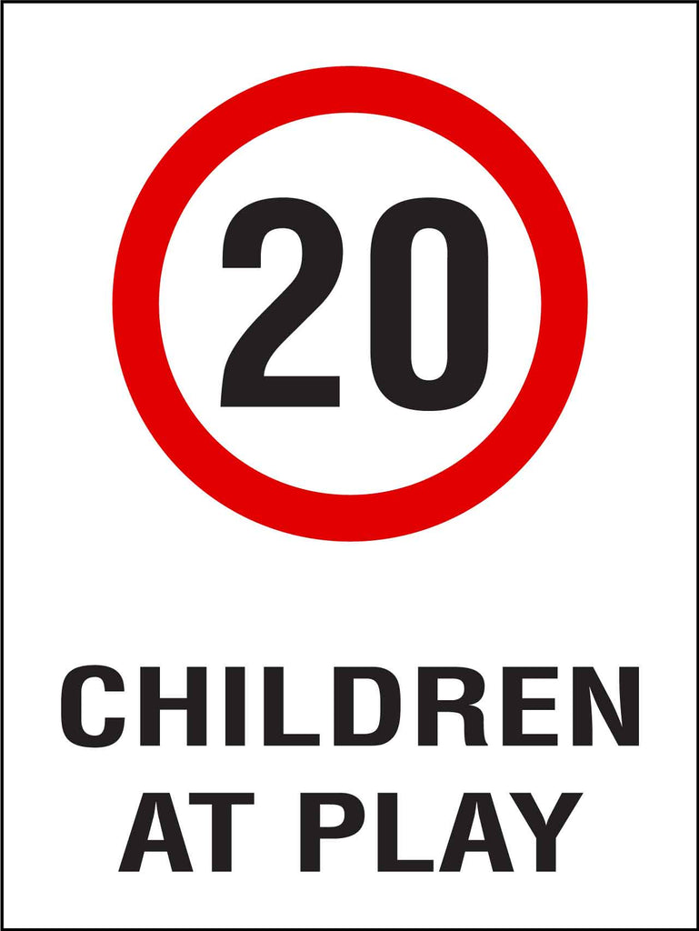 Children At Play 20km Speed Limit Sign