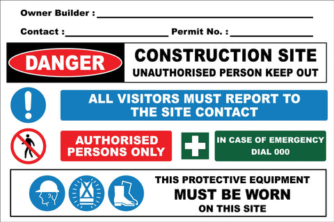 Construction Owner Builder Combination Sign
