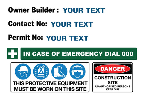 Construction Owner Builder Danger Sign