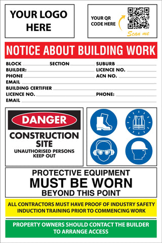 Construction Site Entry ACT Building Sign
