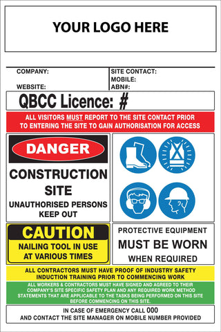 Construction Site Entry Building QLD QBCC Compliant Sign