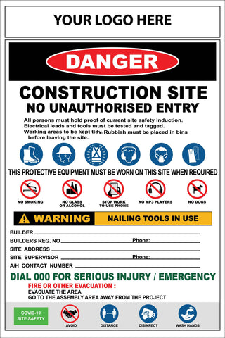 Construction Site Entry Combination and Covid Sign