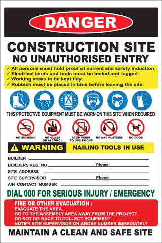 Construction Site Entry Danger Combination No Logo