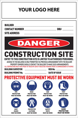 Construction Site Entry Danger Combination Sign