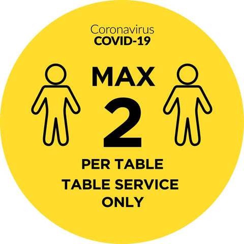 Covid Max 2 Per Table Service Only Decal