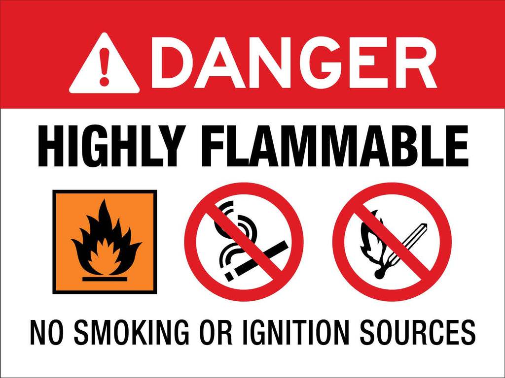 Danger Highly Flammable No Smoking or Ignition Sources Sign