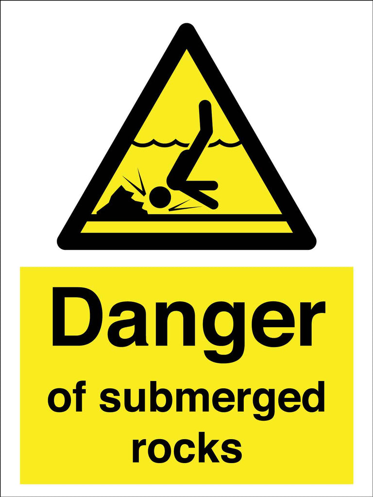 Caution Danger Of Submerged Rocks Sign