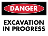 Danger Excavation in Progress Sign