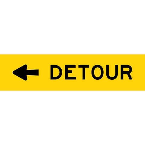 Detour (Arrow Left) Long Skinny Multi Message Reflective Traffic Sign