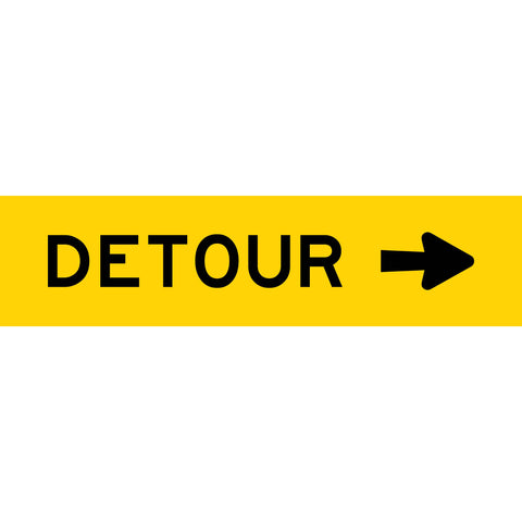 Detour (Arrow Right) Long Skinny Multi Message Reflective Traffic Sign