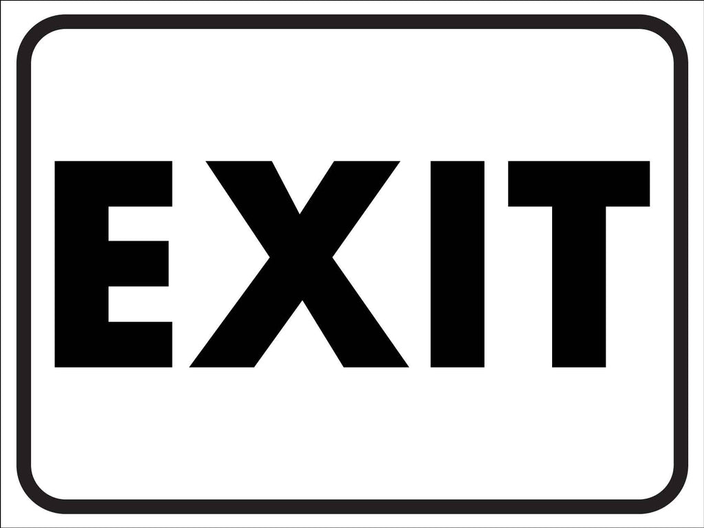 Exit Black and White Sign